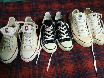 🚚 3 pairs Shoes all Original. Levi's Converse Lative.