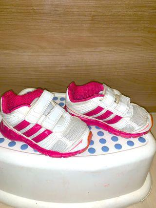White with pink Adidas girls sneakers