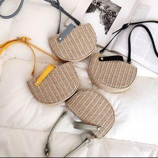 Woven Straw Halfmoon Crossbody Bag