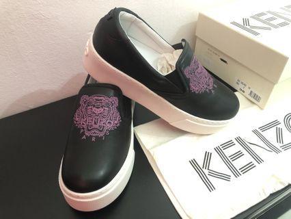 Kenzo women's leather slip on sneakers tiger black