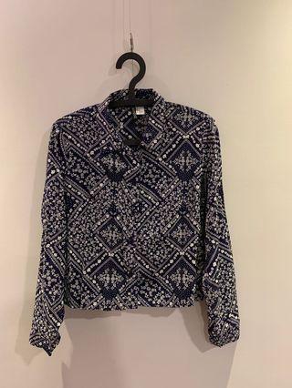 H&M 短板花襯衫