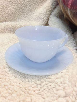 古董Fire King Blue swirl tea cup