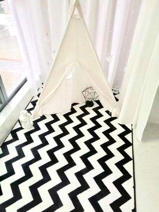 zigzag black and white area rug