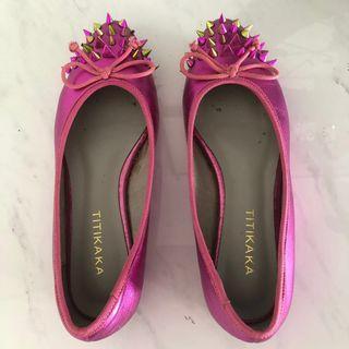 Flat Shoes Fuchsia Pink Spikes Studs Rock Chic