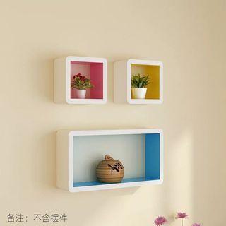 墙面壁挂置物架卧室儿童房墙上置物架创意格子隔板电视背景墙装饰