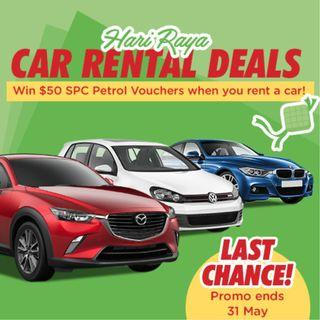 Last chance to win $50 SPC petrol vouchers when you rent a car for Hari Raya!