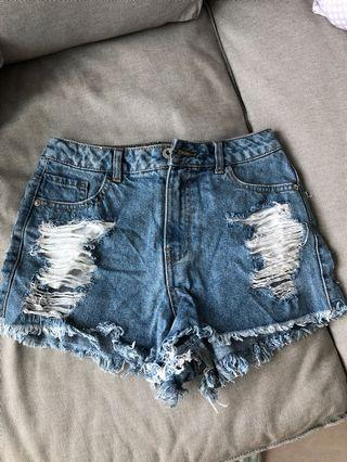 Missguided denim ripped shorts