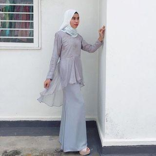 Light Grey Sheer Peplum Kurung Modern #GayaRaya #SuriaKLCC