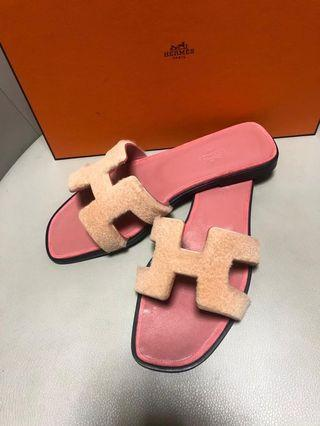 Hermes 粉紅色皮草涼鞋 Sandals 36.5號 配貨特價 原價$1x,xxx