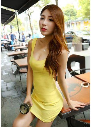 Instock!! Clearance!! Price Greatly Reduced!! Brand New With Tag!! Super Hot And Sexy Korean Style U Cut Front/U Cut Neckline/U Neck Sleeveless Yellow Bodycon/Body Hugging Party Dress