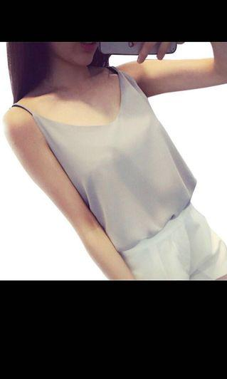 Instock!! Price Greatly Reduced!! Clearance!! Brand New With Tag Korean Style V Cut Front/V Cut Neckline/V Neck Double Layer Spaghetti Straps Grey Chiffon Cami Top/Vest Top
