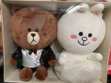 Line friends結婚公仔.Brown & Cony