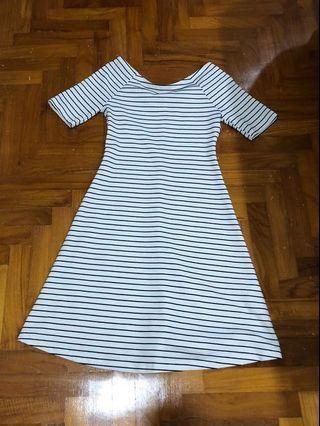 Zara white and Black Stripes Off shoulder dress/ date/ outing