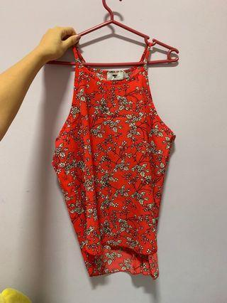 🚚 Red floral spaghetti spag top from Temt