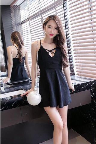 Great Sale!! Clearance!! Price Greatly Reduced!! Instock!! Super Hot And Sexy Korean Style Criss Cross Low V Cut Front/Low V Cut Neckline/Low V Neck Criss Cross Back Design Skater/Flare/A Line Party Dress