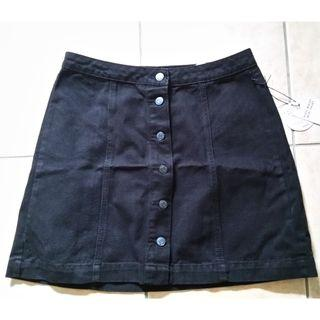 Black denim button up skirt - Large