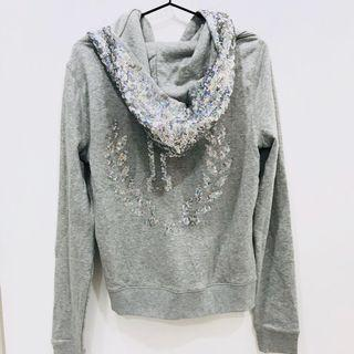 {VS PINK} New Sequin Bling Gray Hoodie Size M