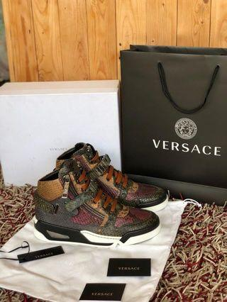 versace python leather sneakers