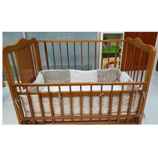 Wood Toddler Baby Cot with Mattress