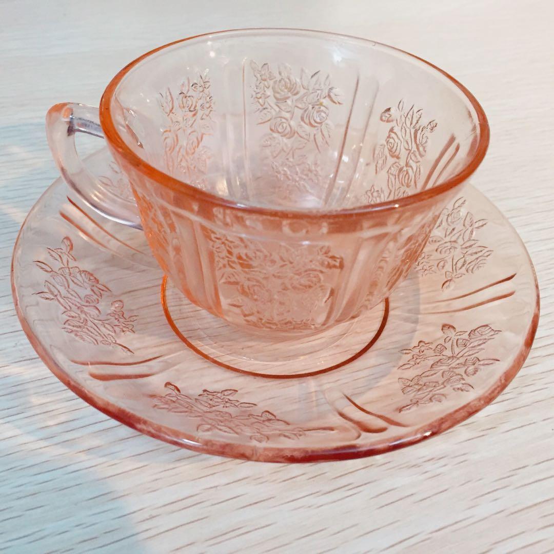 30年代美國製Federal Glass 粉紅玫瑰pink depressions 玻璃茶杯