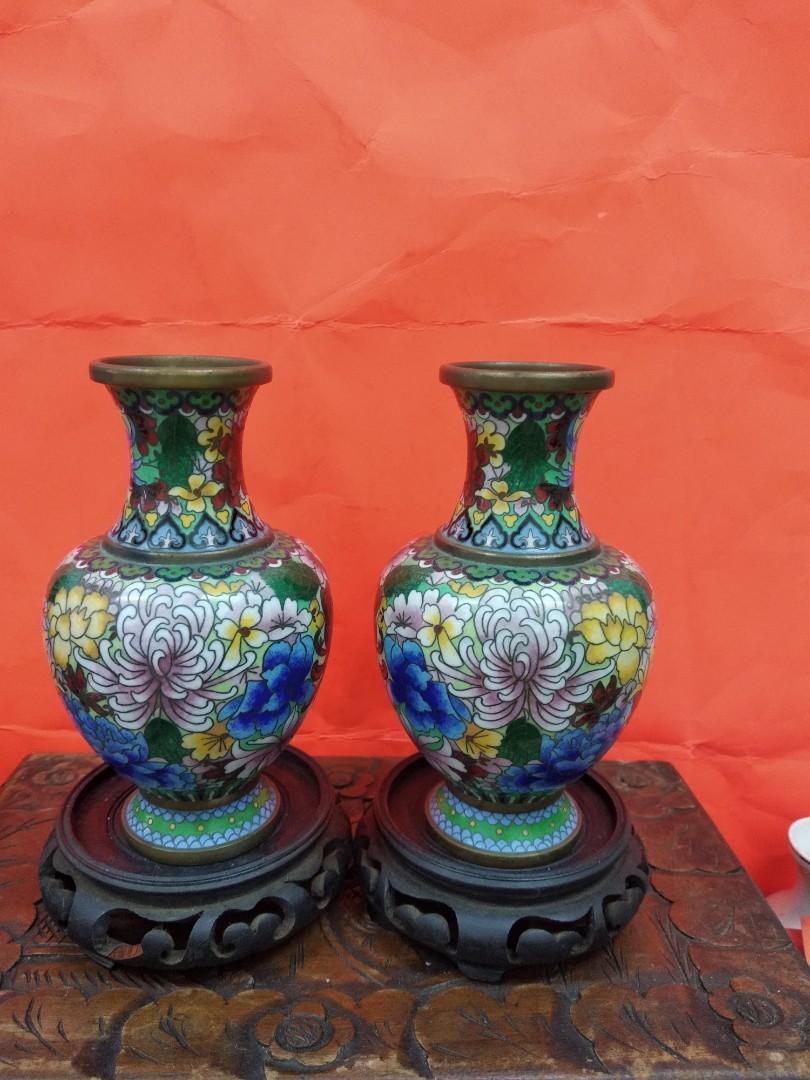 70至80年代出口景泰藍花瓶一對