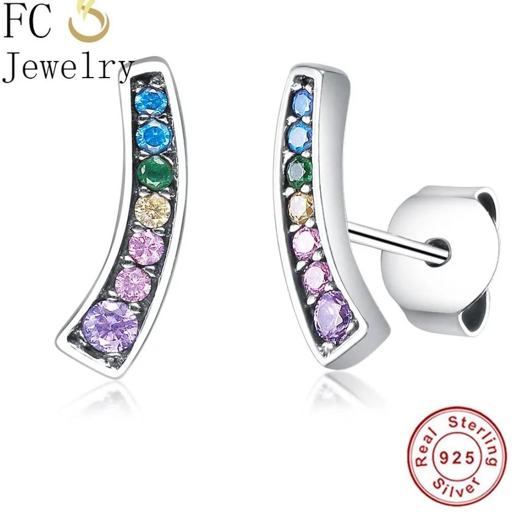 925 Sterling Silver Cute Crystal Stone Stud Earrings