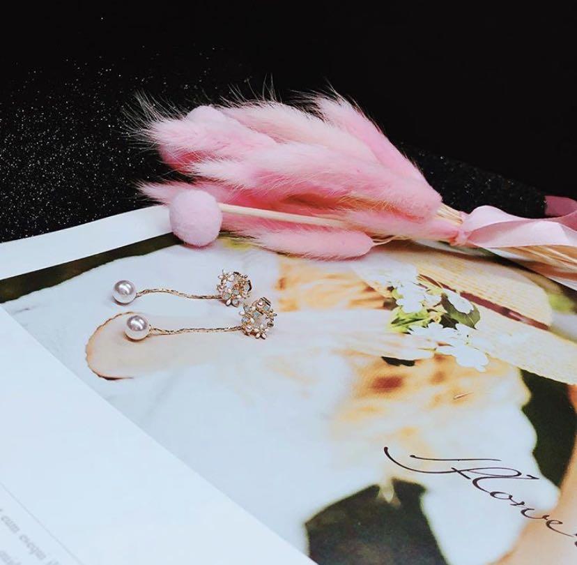 🌼前花環後長細鏈珍珠耳環✨