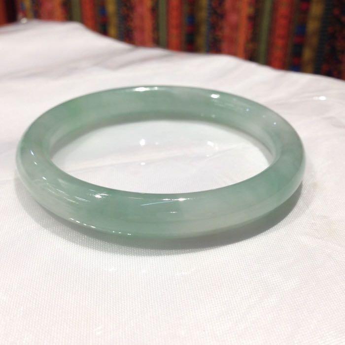 全天然A玉翡翠藍水料幼條子手鐲(53mm)