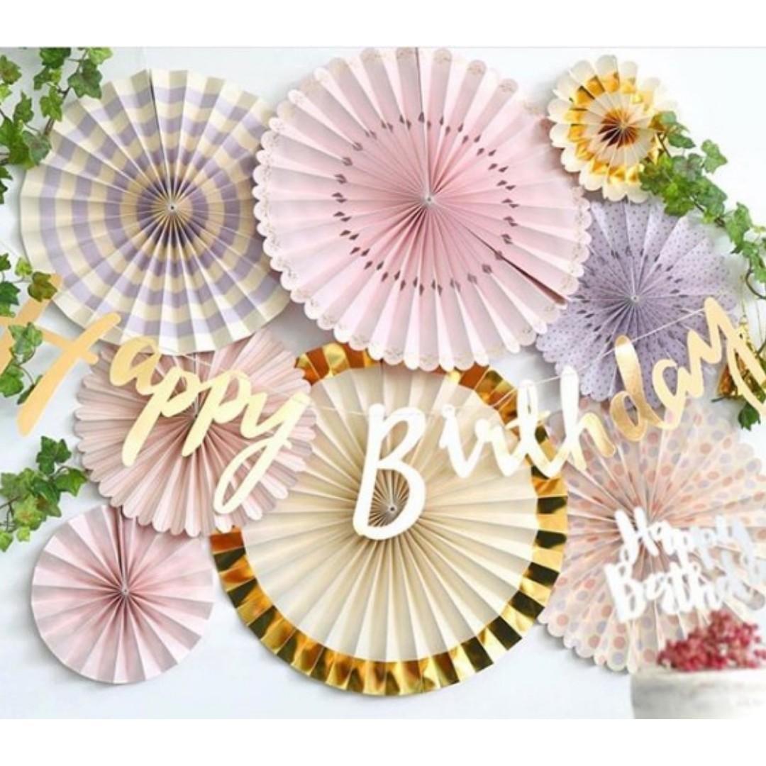 A Set of Paper Fan Pinwheel - Rose Gold