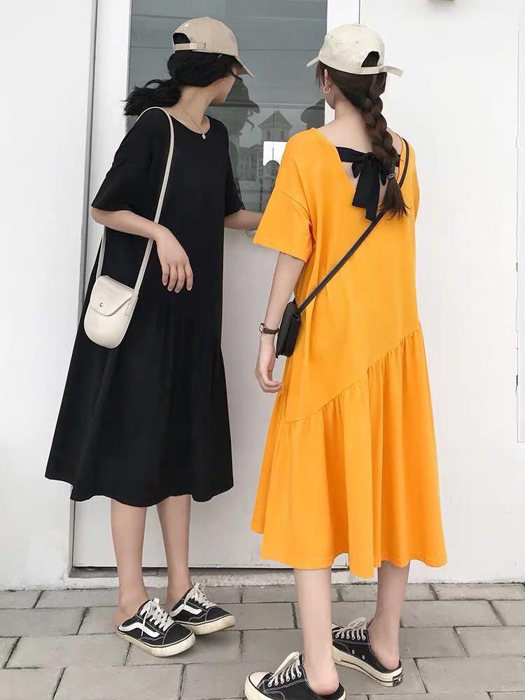 Airy Tee Dress with Back Ribbon Sash