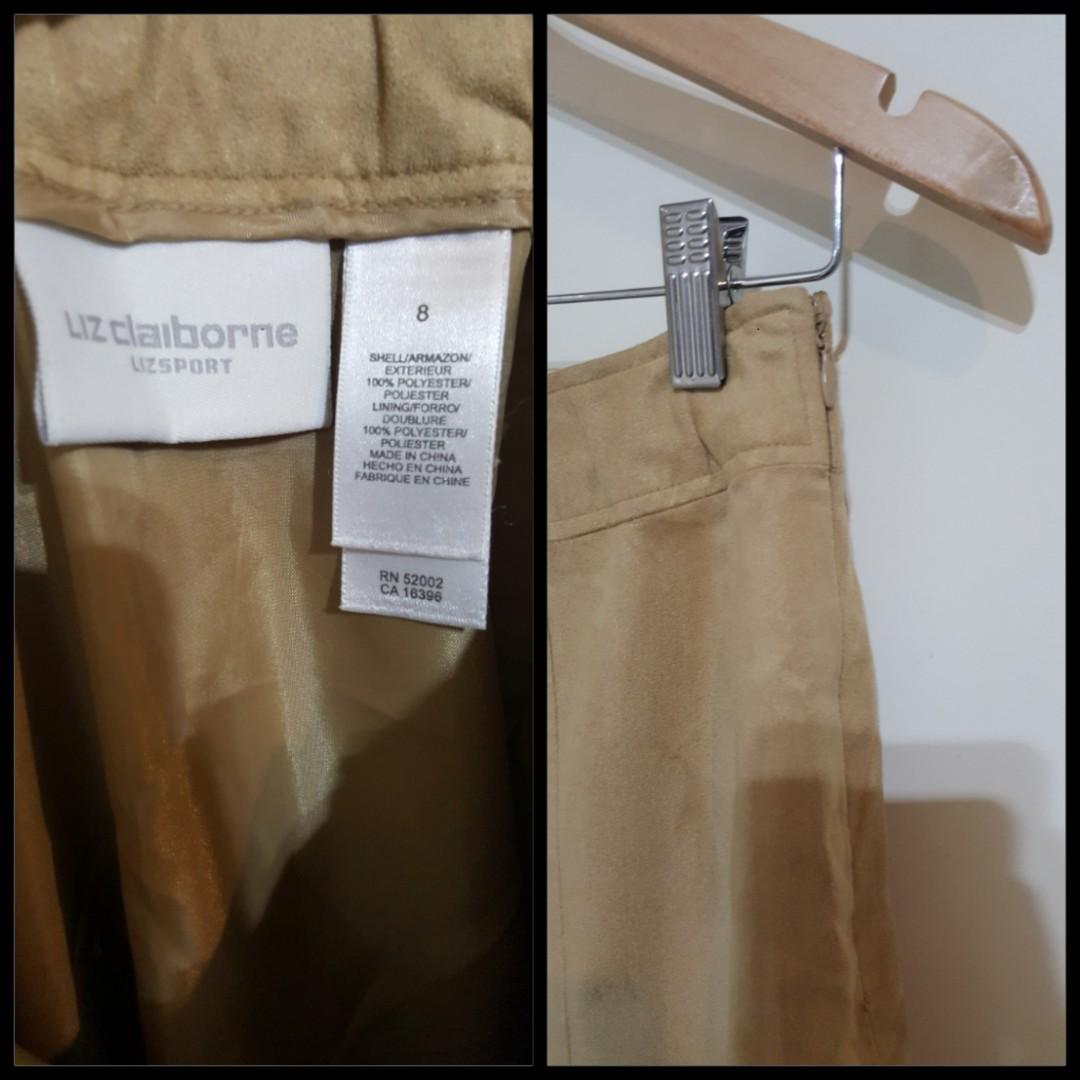 Vintage Beige Suede Like Material Mid Length Skirt by 'Liz Claiborne' (Size 8 but more like a 10)