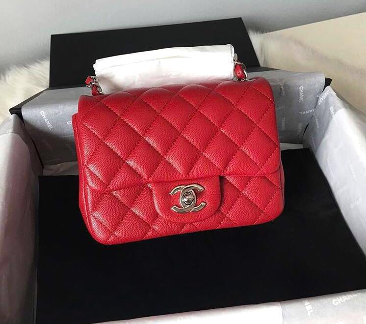 c31aae2fa6a8f7 BNIB Chanel Mini Square Raspberry Caviar SHW 18B, Luxury, Bags ...