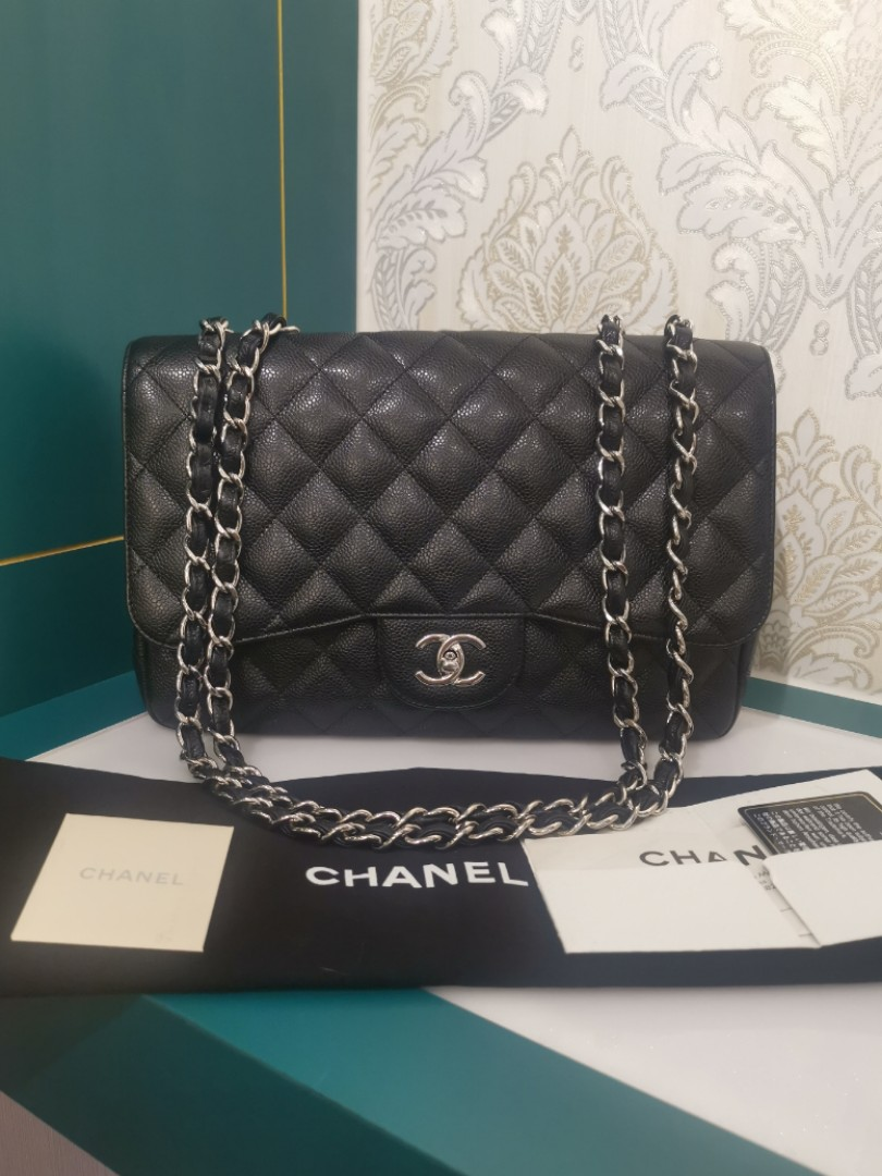bb2f7927a222 ❌RESERVED❌Chanel Jumbo Classic Single Flap Black Caviar with SHW, Luxury,  Bags & Wallets, Handbags on Carousell