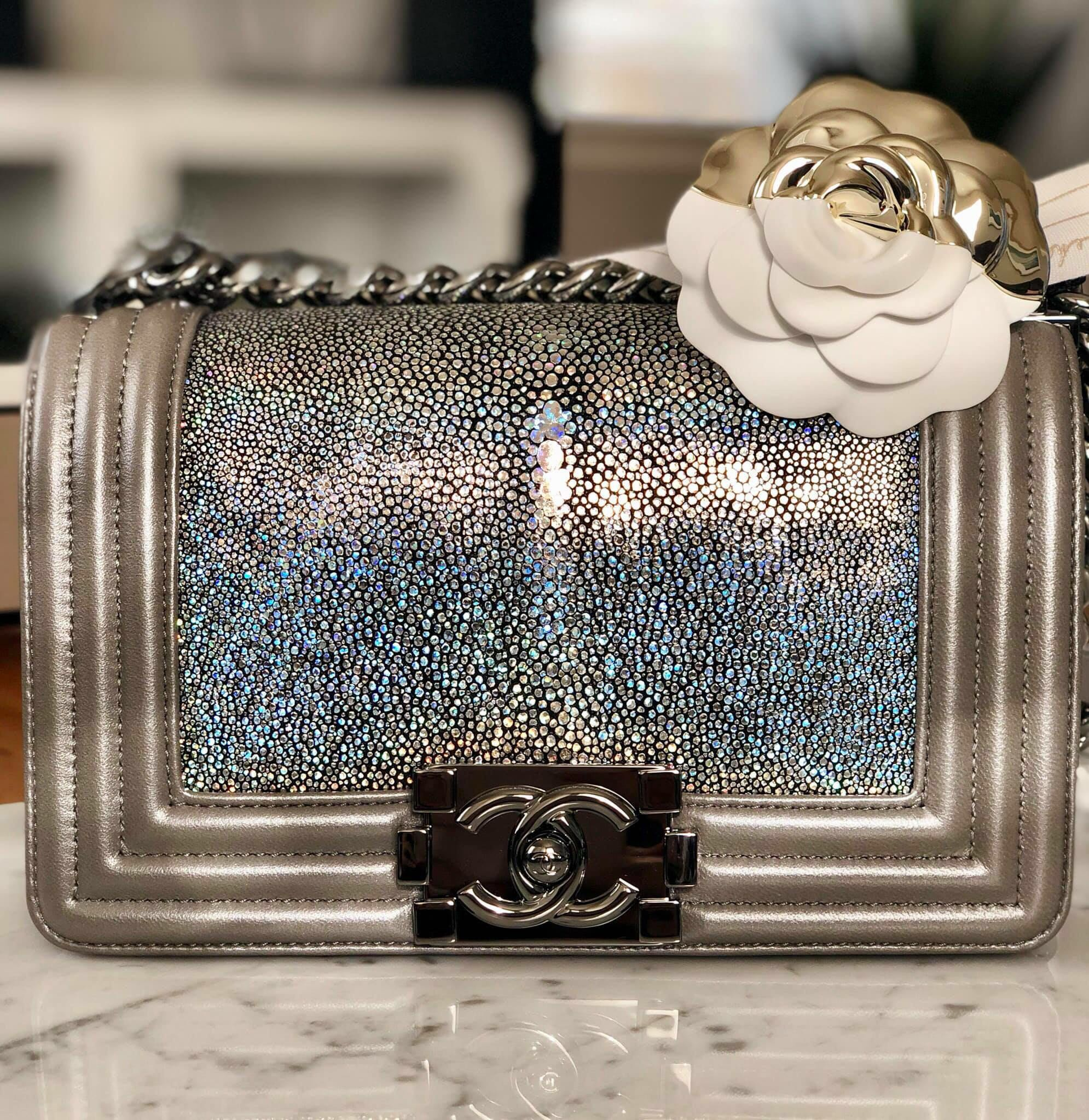 ede5987a8ce1 Chanel le boy small size stingray in silver rainbow hologram iridescent  brand new with tags, Luxury, Bags & Wallets, Handbags on Carousell