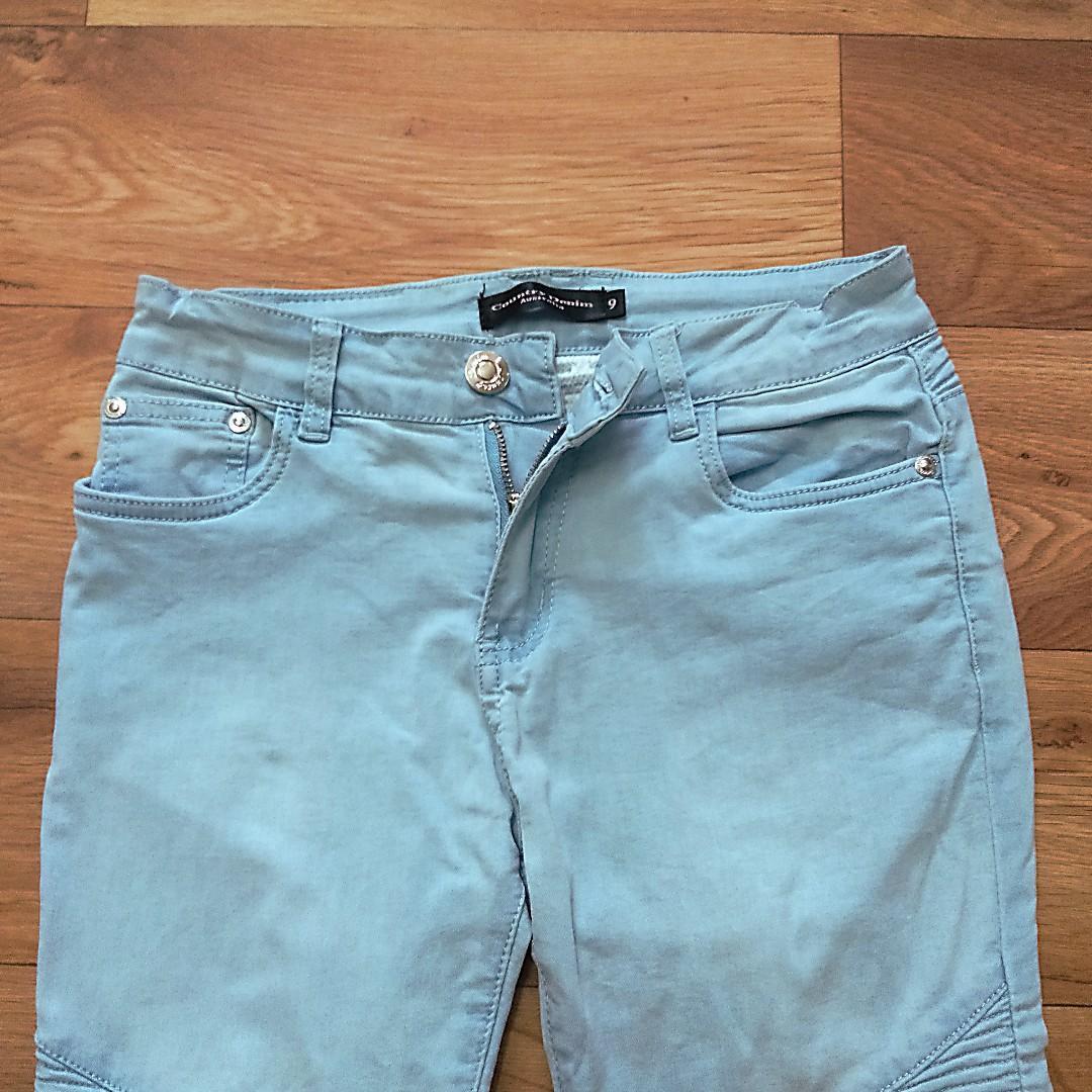 COUNTRY DENIM - Girls Kids Light Blue Winter Zipper Button Denim Jeans - Size 9