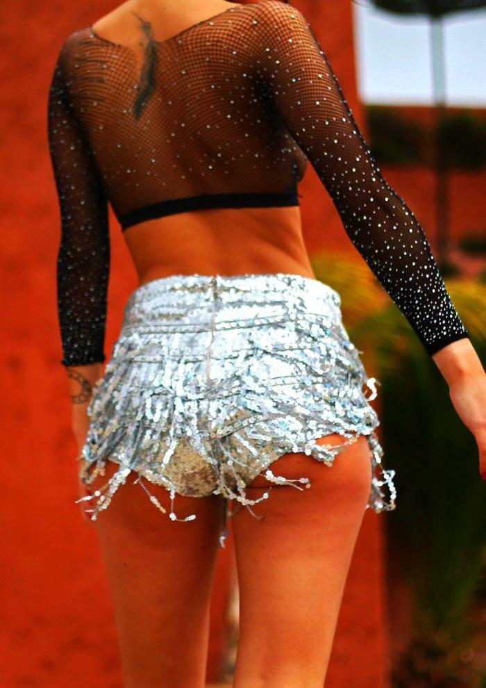 Elsie and fred silver la bamba sequin tassel hot pants/shorts