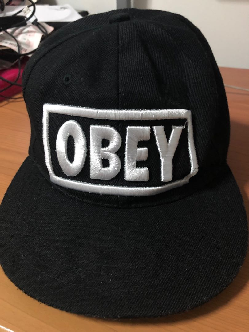 13473b9ece209c Fake OBEY SnapBack black with white words, Men's Fashion, Accessories, Caps  & Hats on Carousell