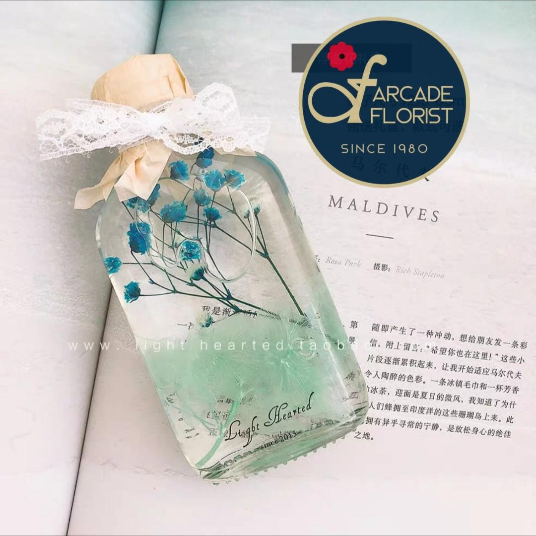 Herbarium Bottle(100ml) with beautiful Preserved and Dried flowers + LED Base and Gift Box | Rose | Roses | Birthday Bouquet | Anniversary Bouquet | Mother's Day Bouquet | Valentine's Day Bouquet