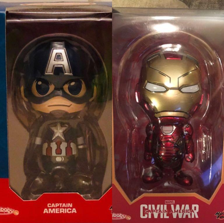 Hottoys cosbaby marvel avengers captain America ironman 2隻絕版