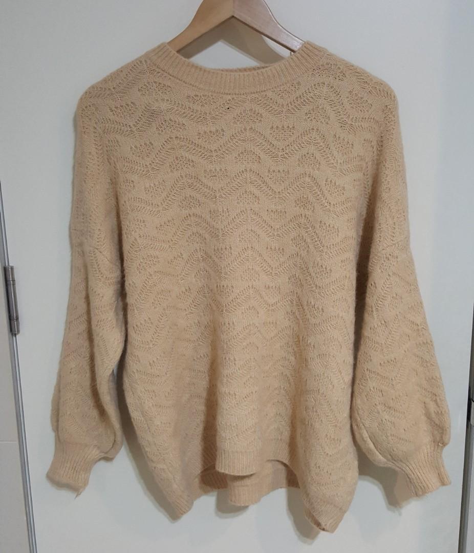 Korean Oversized Beige Knit Jumper (Size S)