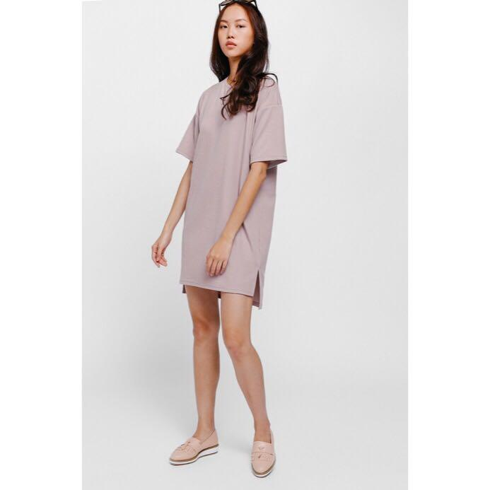 [Love, Bonito] Kiana Oversized T-shirt Dress In Dusty Pink