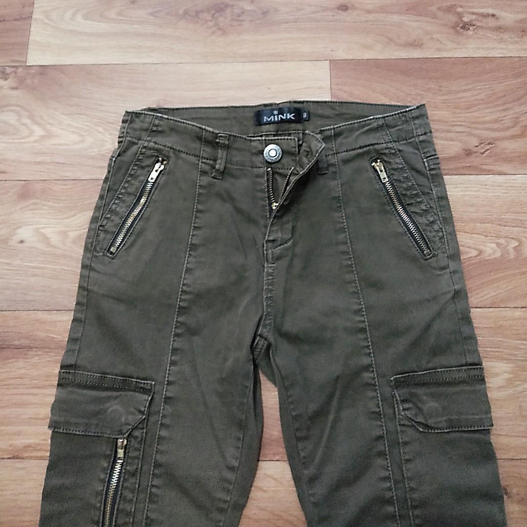 MINK - Girls Kids Brown Winter Cargo Pocket Zipper Pants Clothes - Size 8 -