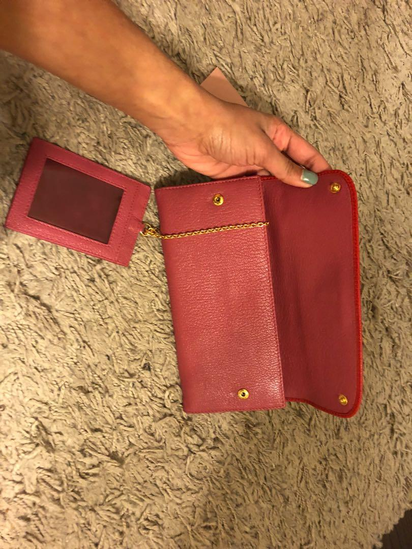 Miu Miu Classic Red Leather Large Travel Wallet Women's