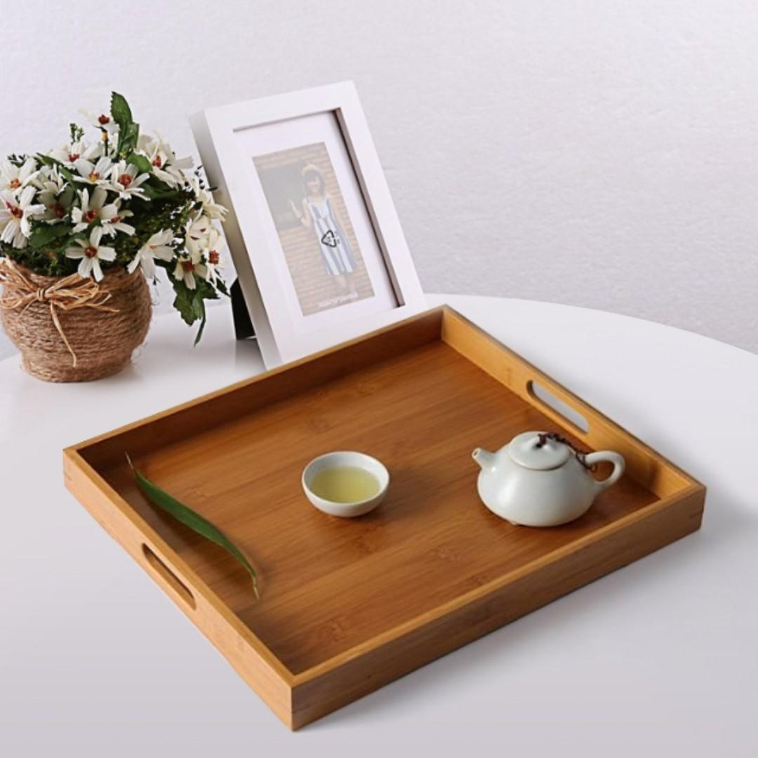 NATURAL JAPANESE BAMBOO SERVING TRAY (38x25CM)