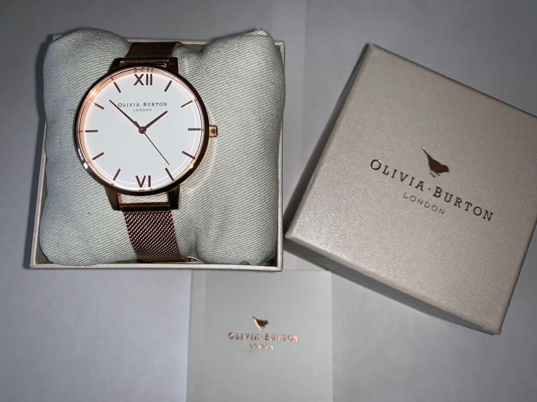 Olivia Burton Rose Gold Mesh White Dial Watch