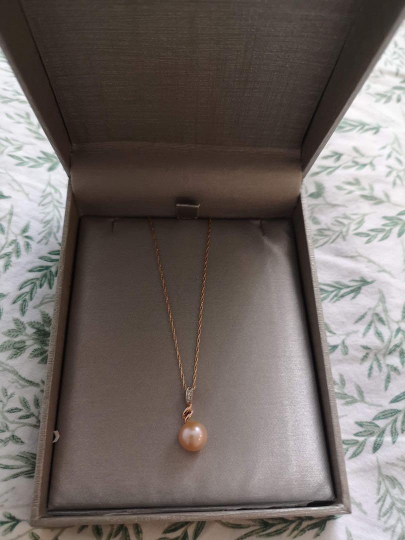 Pink Cultured Fresh Water Pearl and Diamond Accent in Rose Gold