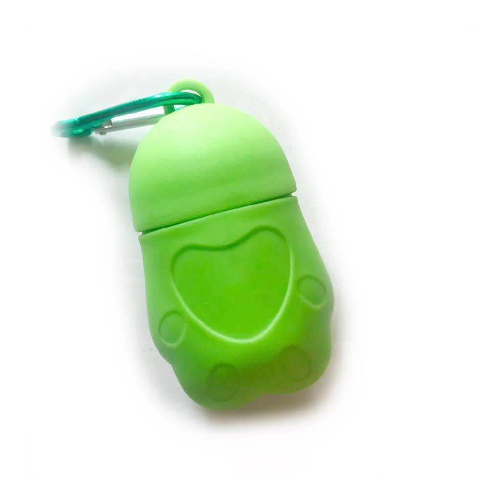 POO BAG DISPENSER WITH CARABINER (GREEN)