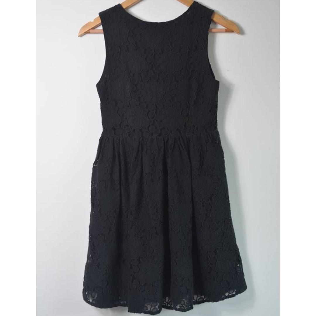 Princess Highway black with floral lace overlay dress - size 8