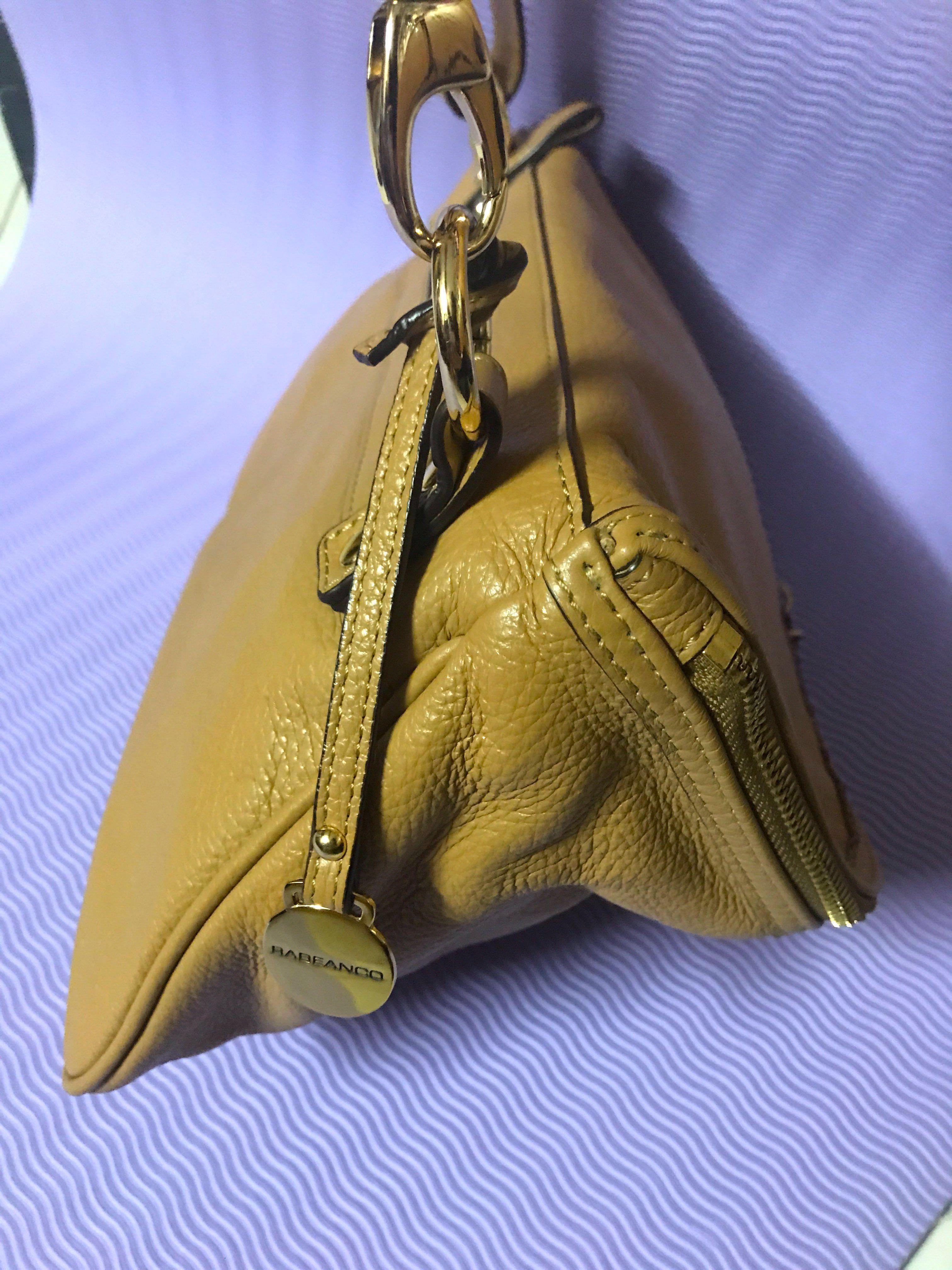 Rabeanco Leather Handbag / Clutch with Detachable Shoulder-strap; Shade: Camel