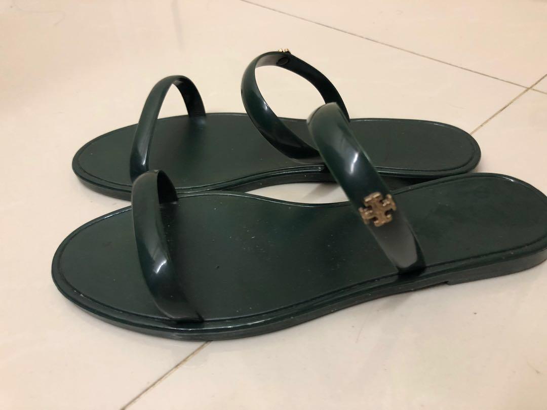 ((REDUCE)) Tory Burch dark green jelly sandal